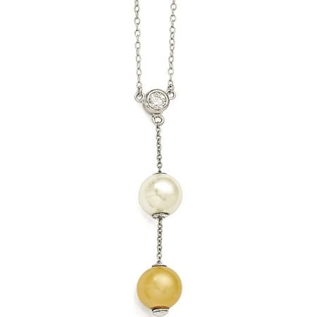 Argent 925 Majestik Blanc & Shell Perle & CZ Collier - image 3 de 3