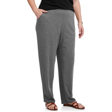 Women S Plus Size Knit Pull On Pant Petite Walmart Com