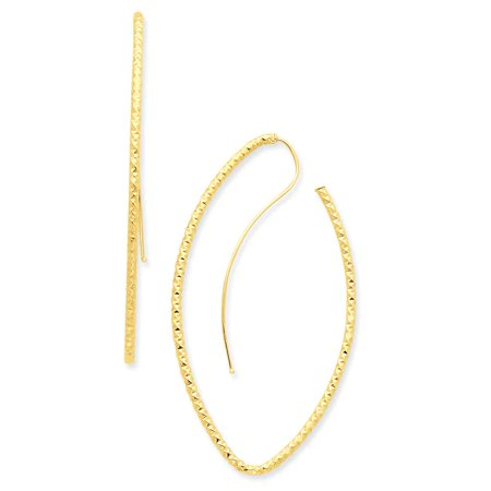 Primal Gold 14 Karat Yellow Gold Textured Oval French Wire Earrings