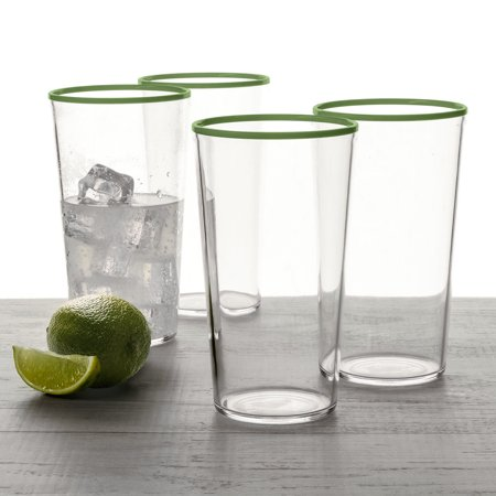 Better Homes & Gardens Color Rim 21.6 oz Tumbler 4 Pack -Green Forest Green Glassware