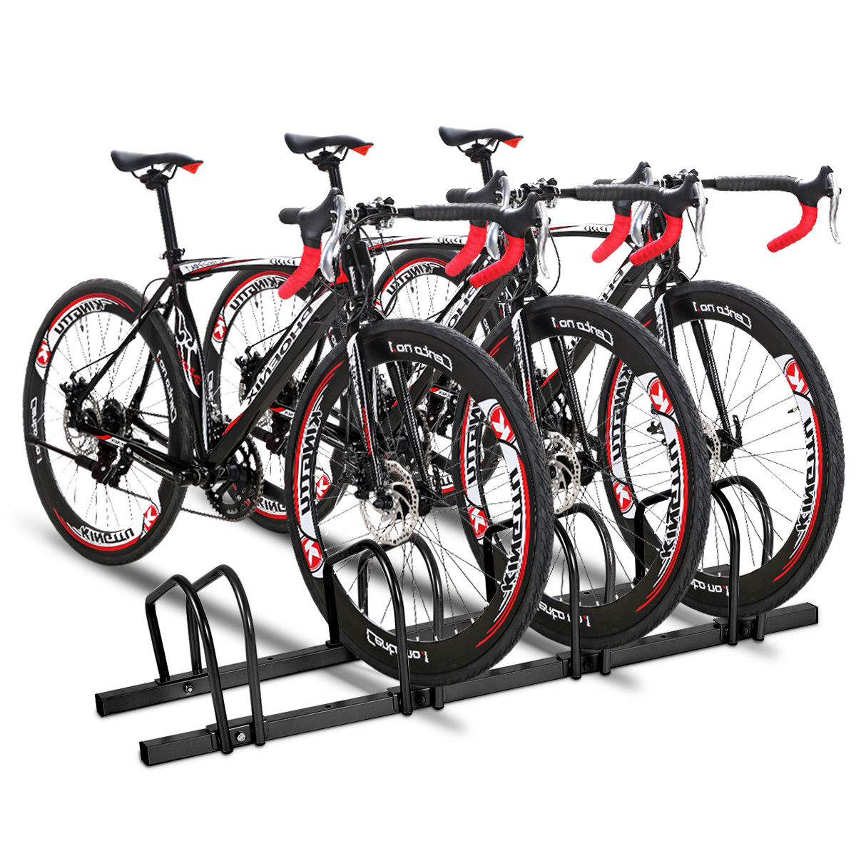 Gymax 4 Bike Bicycle Stand Parking Garage Storage Cycling Rack Black - image 4 of 10