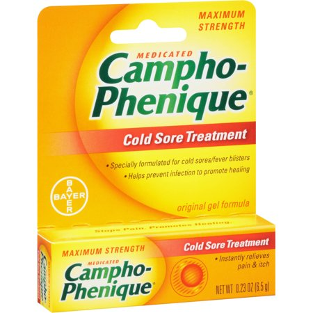 Campho-Phenique Medicated Cold Sore Treatment Maximum Strength Original Gel, 0.23 Oz