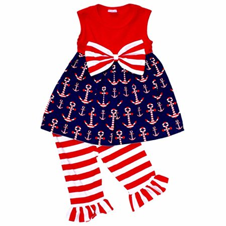 Unique Baby Girls 4th of July Patriotic Anchors Boutique Outfit (5T/L, Red)