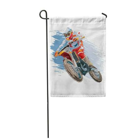 KDAGR Helmet Motocross Rider on Motorcycle Mountain Action Bike Biker Garden Flag Decorative Flag House Banner 28x40
