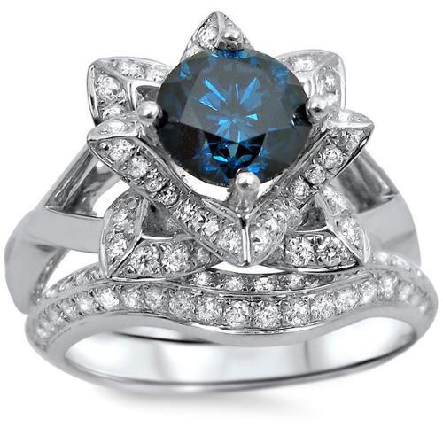 14k White Gold 1 3/4ctw Blue Round Diamond Lotus Flower Engagement Ring Bridal Ring Set (SI1-SI2) Size-6.5