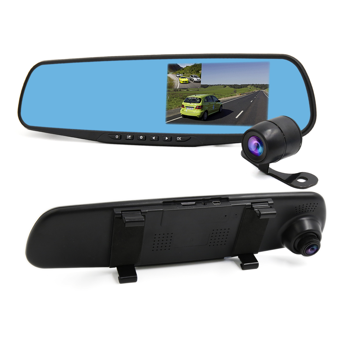 "4.3"" 1080P HD Car DVR Dash Cam Dual Lens Camera RearView Mirror Recorder G-senor"