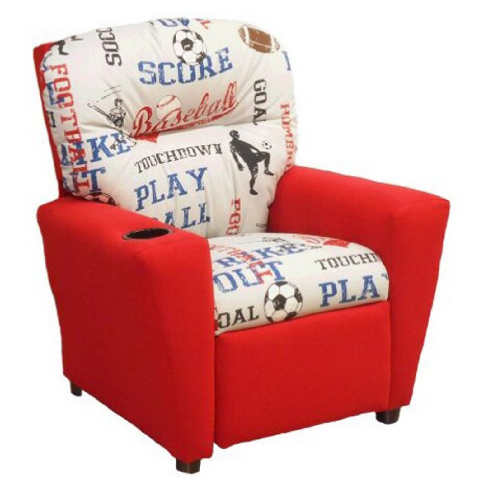 Brazil Furniture 4-Button Back Child Recliner - Sports American Blue and Chili Red