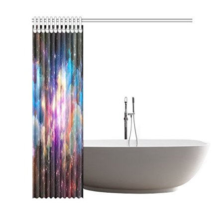 GCKG Galaxy Outer Space Shower Curtain, Purple Universe Nebula Clouds Polyester Fabric Shower Curtain Bathroom Sets with Hooks 66x72 Inches - image 1 of 3