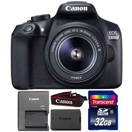 Canon EOS 1300D/T6 Digital SLR Camera with 18-55mm Lens and 32GB Memory Card