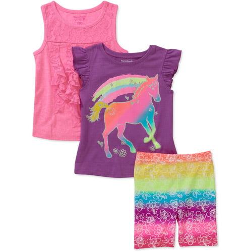Garanimals Baby Toddler Girl 3-Piece Tee, Tank, and Bike Shorts Set