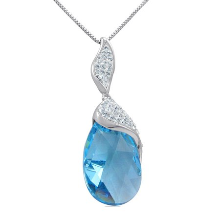 Sterling Silver Aqua Blue Crystal Tear Drop Pendant-Necklace with Swarovski Crystals ()