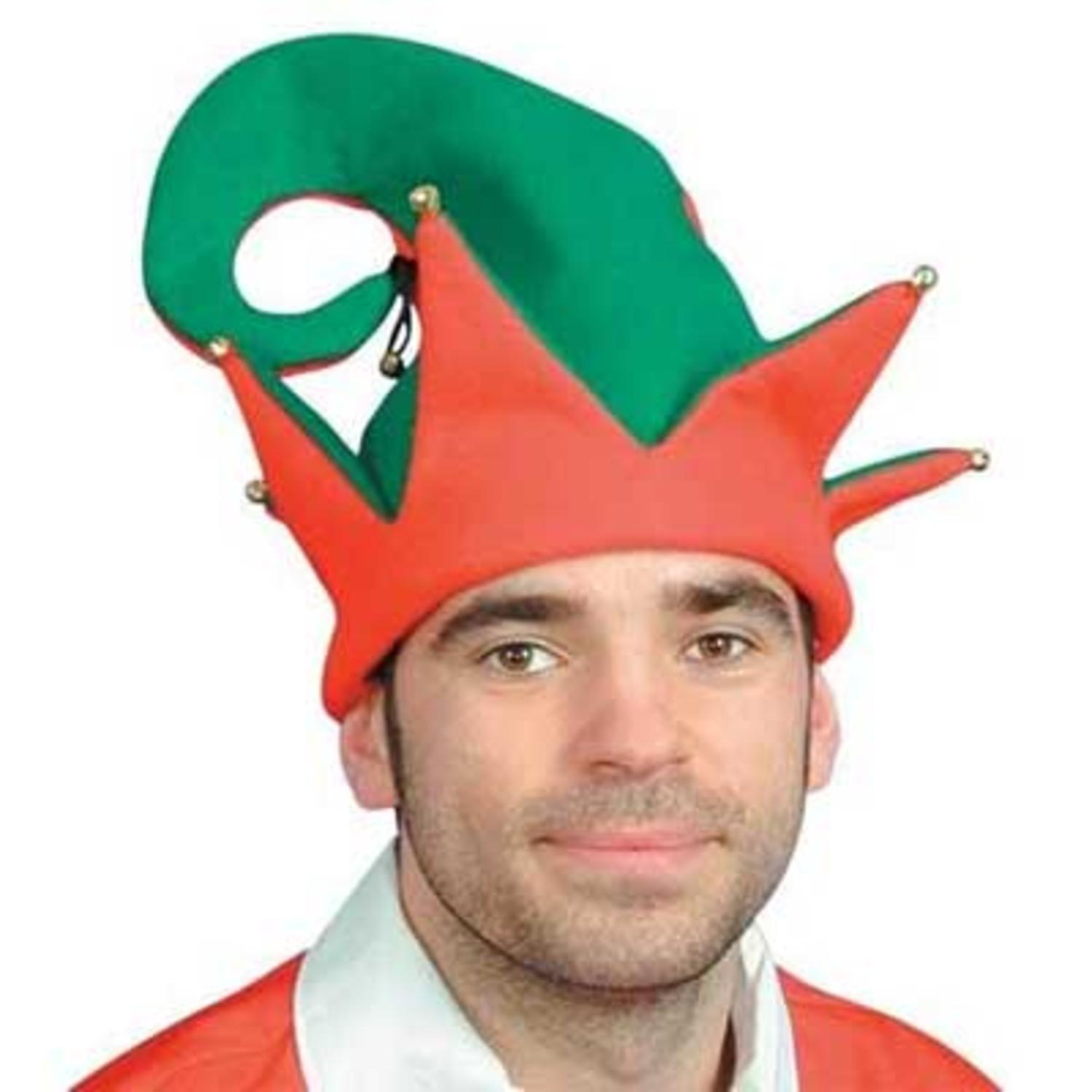 Festive Two-Tone Adult Christmas Elf Hat with Jingle Bells