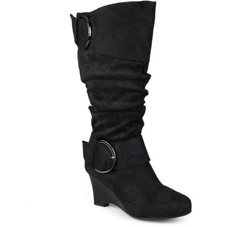 Brinley Co. Women's Wide Calf Buckle Slouch Wedge Knee-High Boot ()