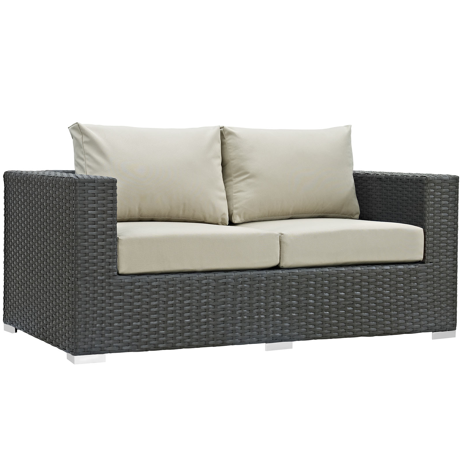 Modern Contemporary Urban Design Outdoor Patio Balcony Loveseat Sofa, Beige, Rattan