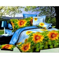 Unique Home Luxury 4 Piece Sheet Set Clearence 3d Sunflower Print Queen Size Yellow/Green (SUNFLOWER-Y-12)