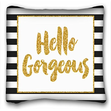 WinHome Hello gorgeous Black and Gold Moroccan Decorative Pillows Cushion Cover Best Pillow Cases Size 18x18 inches Two Side