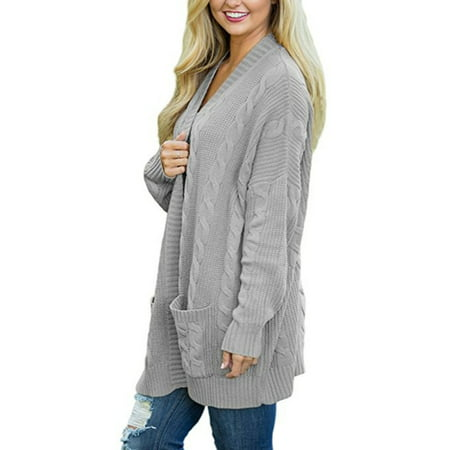Plus Size Womens Long Sleeve Oversized Loose Knitted Sweater Jumper Open Front Plain Cardigan Outwear Coat