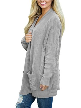 4cc2bf53ae Product Image Plus Size Womens Long Sleeve Oversized Loose Knitted Sweater  Jumper Open Front Plain Cardigan Outwear Coat