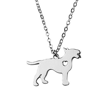 Art Attack Silvertone I Love My Dog Lover Heart Outline Bull Terrier Pet Puppy Rescue Pendant Necklace (I Love Puppies)