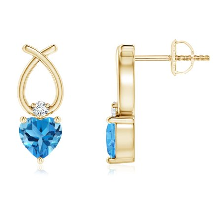 Mother's Day Jewelry Sale - Heart Shaped Swiss Blue Topaz Ribbon Earrings in 14K Yellow Gold (4mm Swiss Blue Topaz) - SE0964SBTD-YG-AAA-4 14k Gold Ribbon Earrings