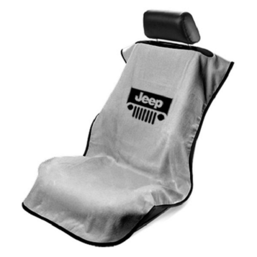 Seat Armour - GRE Grey Seat Protector Towel Cover With Jeep Grille Logo SA100JEPGG