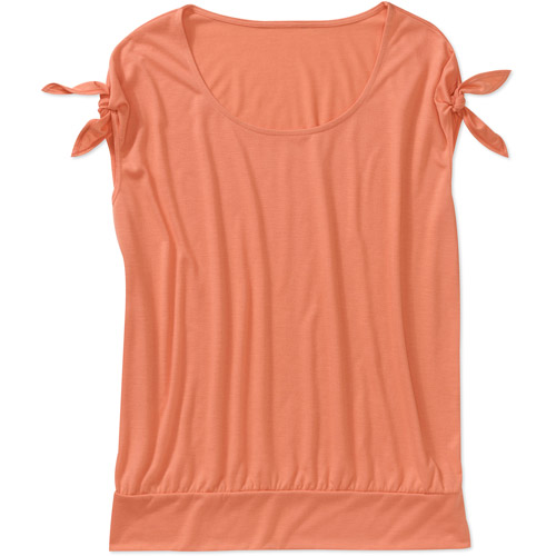 In The Mix Women's Plus-Size Knit Top with Ties and Banded Bottom