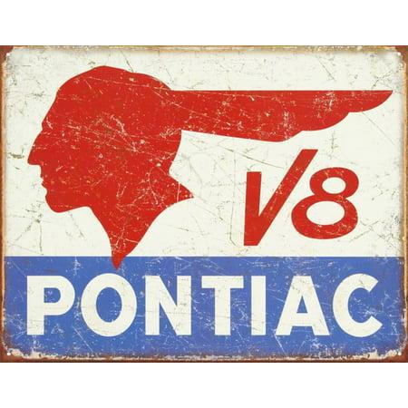 Pontiac V8 Logo - Distressed Retro Vintage Tin Sign Tin Sign - 12.5x16 ()