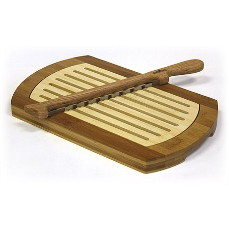 Simply Bamboo Multi Purpose Two Tone Bamboo Crumb Tray   Cutting Board   Serving Tray   Fiddle Bow Bread Knife Set