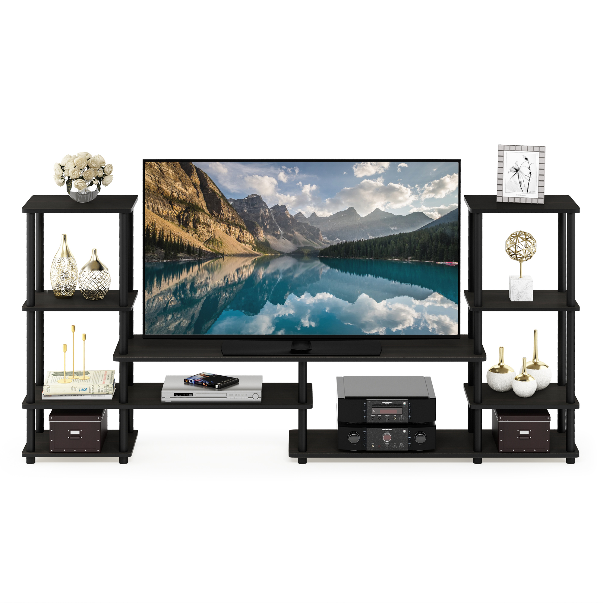 Furinno Turn-N-Tube Grand Entertainment Center, Espresso/Black 14146EX/BK