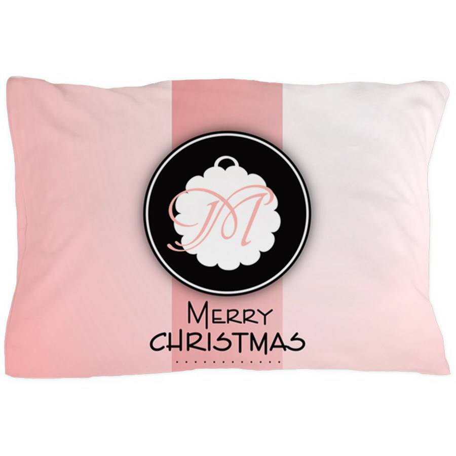 Cafepress Personalized Red Christmas Monogram Pillow Case