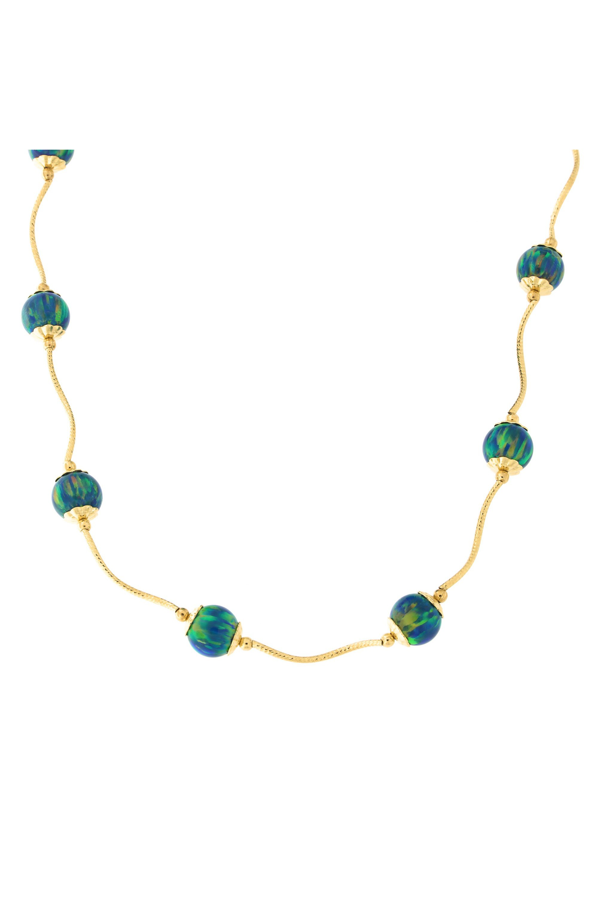Beauniq 14k Yellow Gold Diamond Cut Capped Simulated Green Opal Station Necklace, 18 inches by