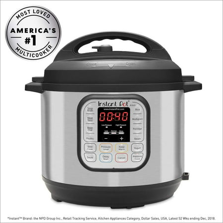 Instant Pot DUO60 6 Qt 7-in-1 Multi-Use Programmable Pressure Cooker, Slow Cooker, Rice Cooker, Steamer, Sauté, Yogurt Maker and Warmer Duo Stainless Steel/Black 6-QT