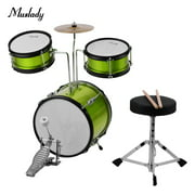 Muslady Kids Children Junior Beginners 3-Piece Drum Set Drums Kit Percussion Musical Instrument with Cymbal Drumsticks Adjustable Stool