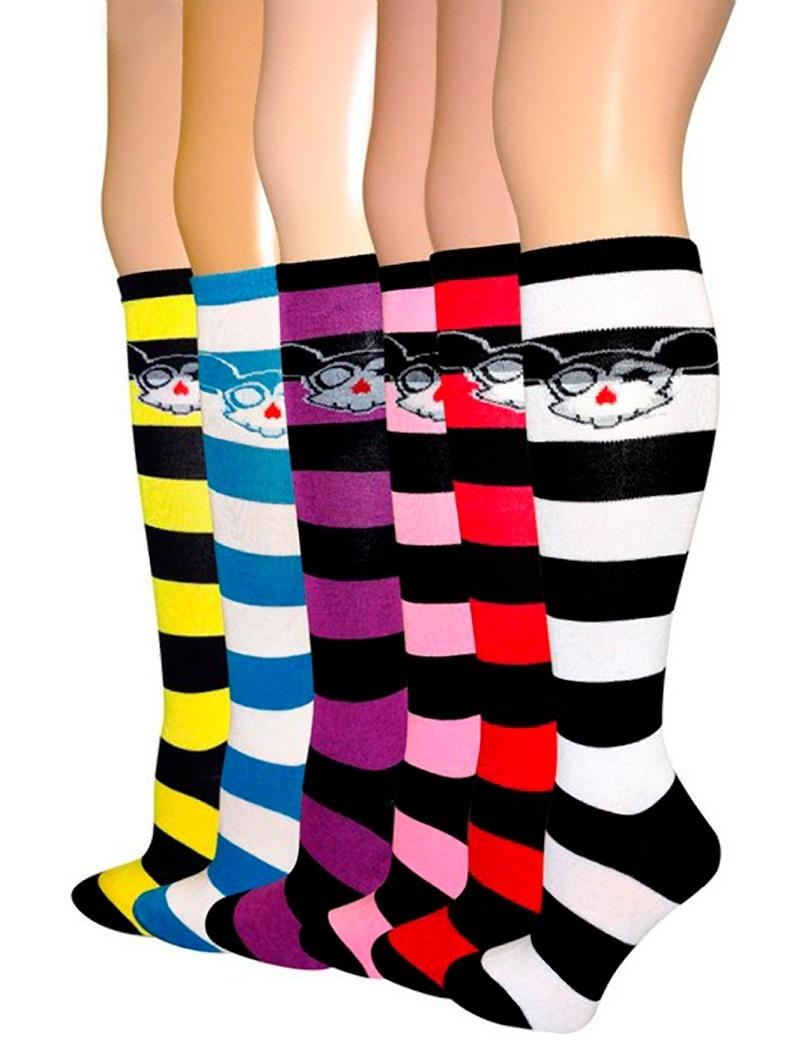 6 Pairs Anime Skulls- Knee High Socks