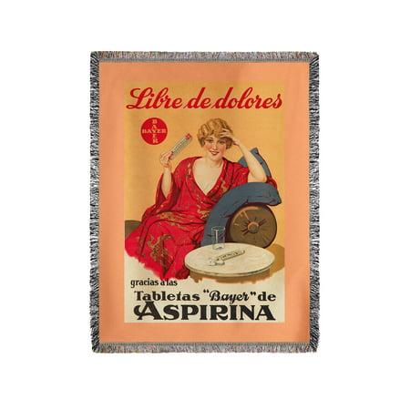 Bayer Aspirina Vintage Poster Spain C  1929  60X80 Woven Chenille Yarn Blanket