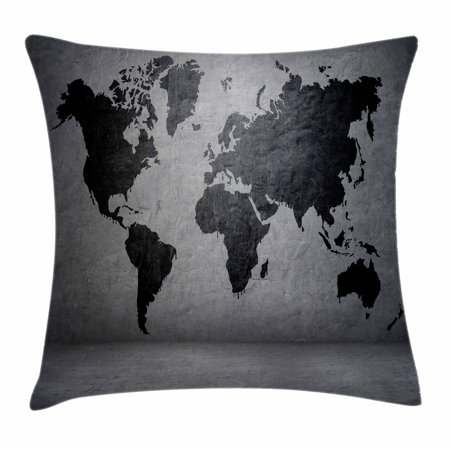 Dark Grey Throw Pillow Cushion Cover, Black Colored World Map on Concrete Wall Image Urban Structure Grungy Rough Look, Decorative Square Accent Pillow Case, 16 X 16 Inches, Grey Black, by (16 X 16 X 4 Concrete Pads)