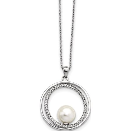 b2331ed46 925 Sterling Silver Majestick 9-10mm White Shell Pearl Necklace - image 1  of 1 ...