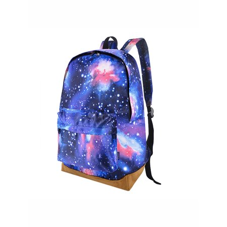 Coofit Fashionable Galaxy Print Student Canvas Book Bag Backpacks for Boys Girls (Blue)