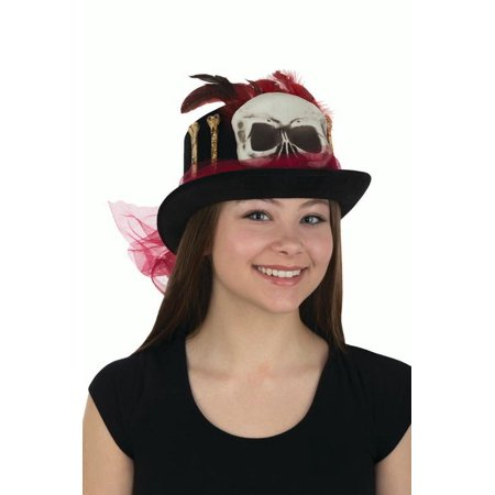 Witch Doctor Item (Womens Witch Doctor Top Hat with Skull Bones Red Veil Adult Costume)