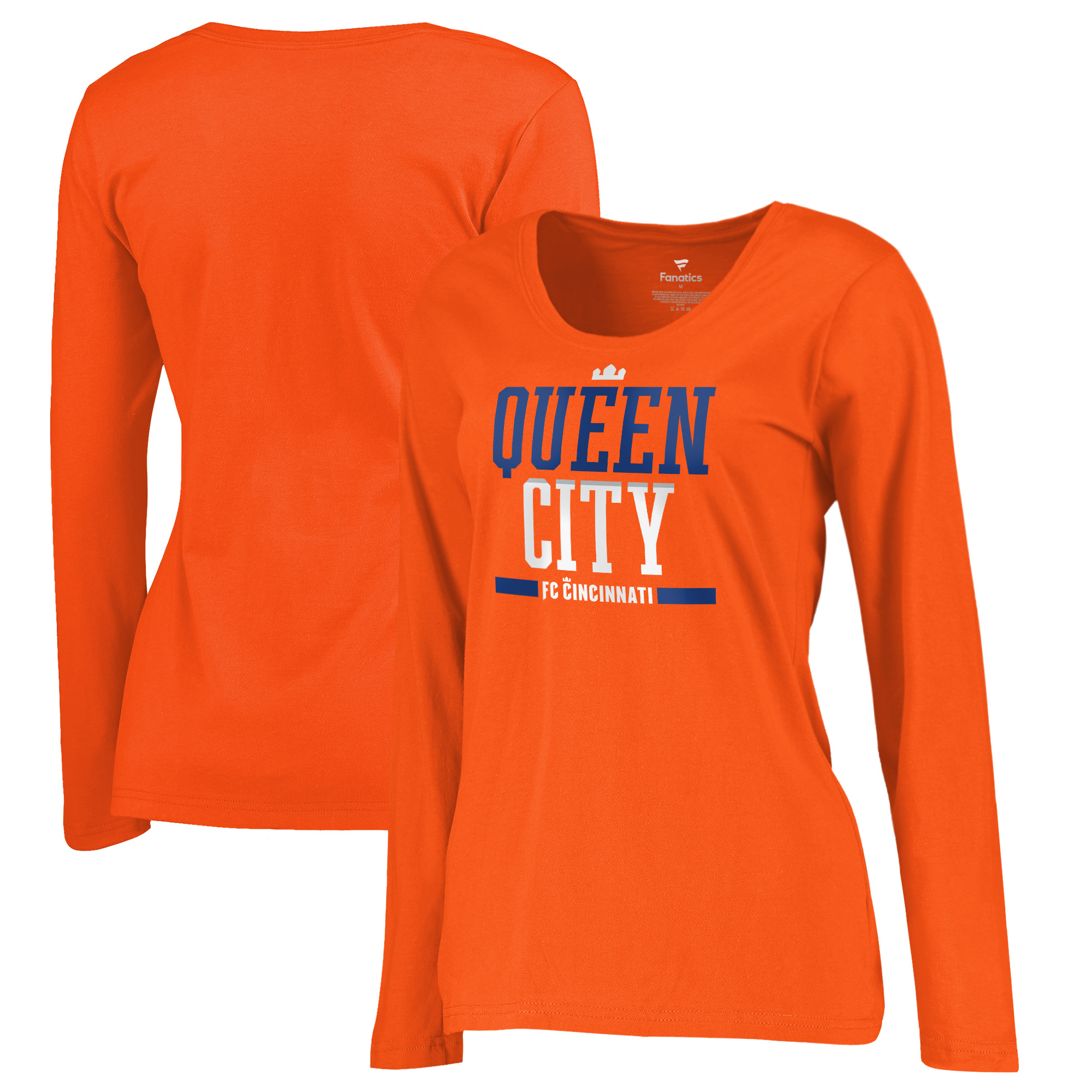 FC Cincinnati Fanatics Branded Women's Queen City Long Sleeve V-Neck T-Shirt - Orange