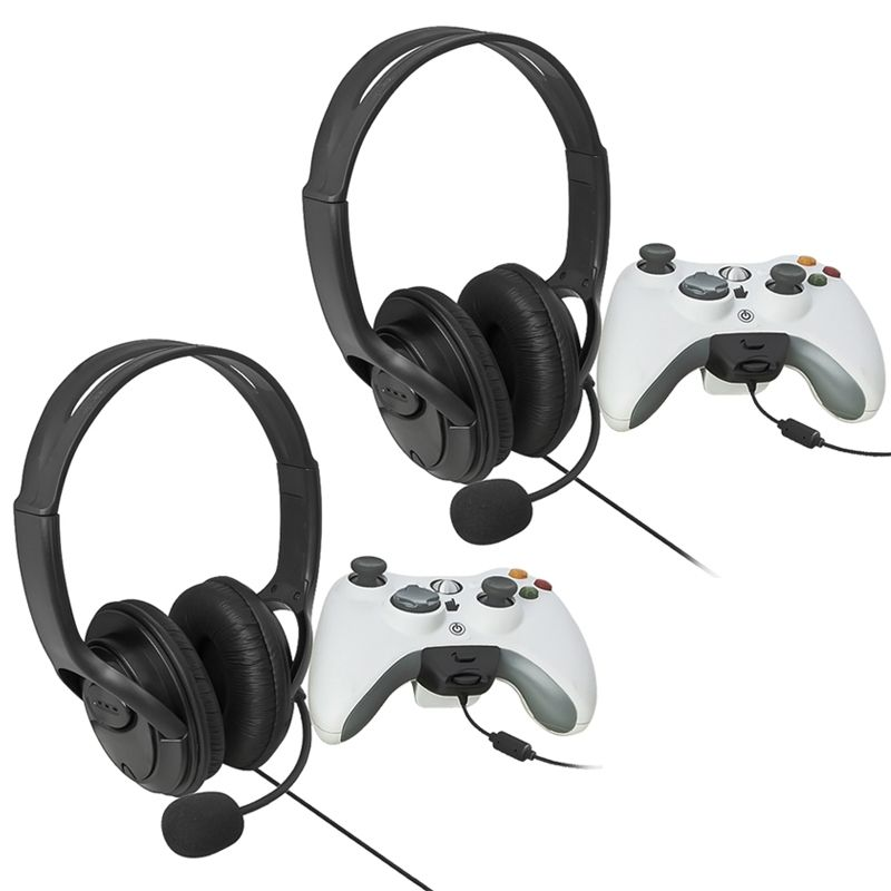 Insten Two Big Headset with Microphone MIC Earphone for Xbox 360 Xbox360 LIVE Black