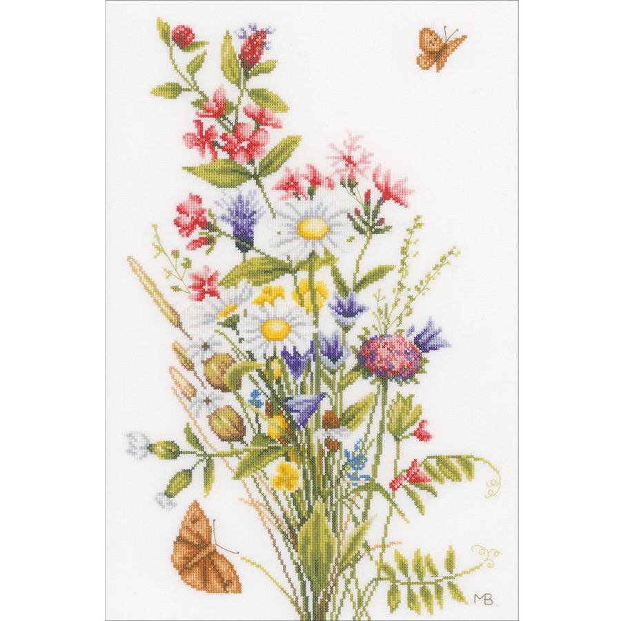 """LanArte Field Flowers On Cotton Counted Cross Stitch Kit, 12.25"""" x 18.5"""", 27 Count"""