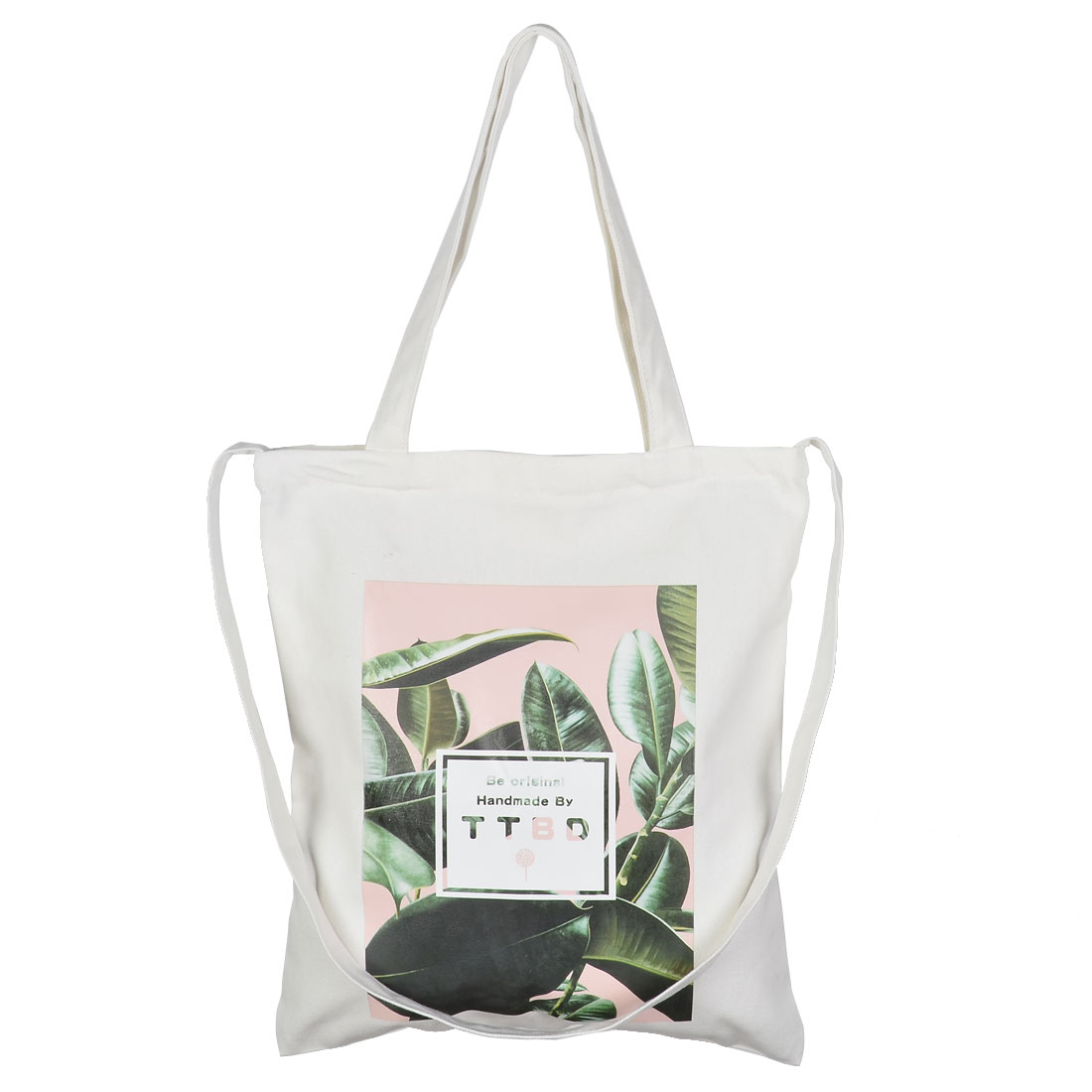 Travel Canvas Leaf Pattern Sundries Cosmetic Toothpaste Holder Tote Bag White - image 4 of 4