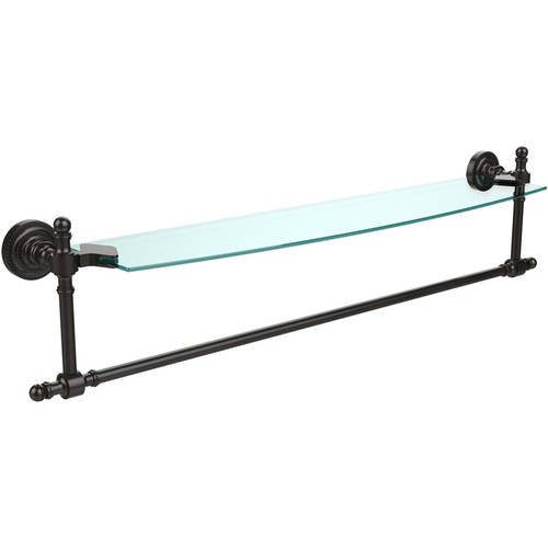 """Retro Dot Collection 24"""" Glass Vanity Shelf with Integrated Towel Bar (Build to Order)"""
