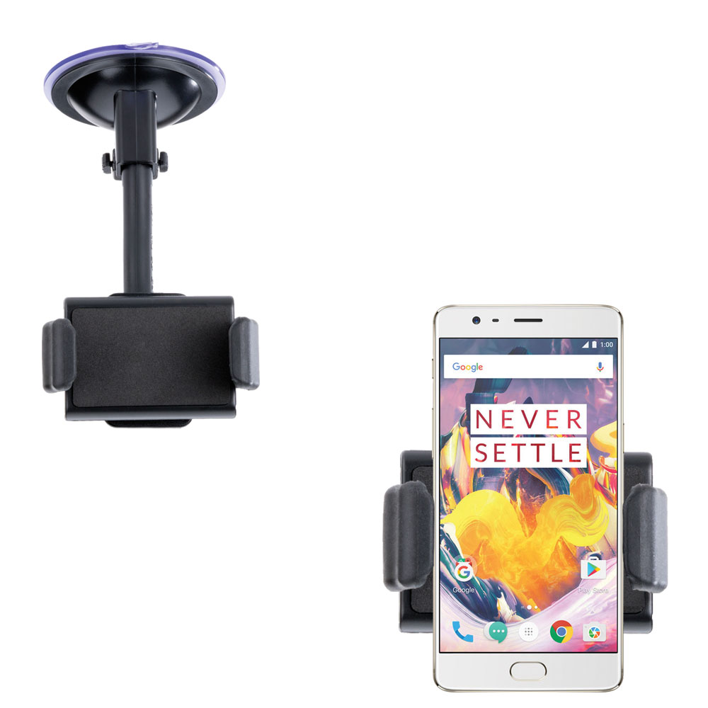 Gomadic Brand Ultra Compact Flexible Car Auto Windshield Holder Mount designed for the OnePlus 3T - Gooseneck Suction Cup Style Cradle