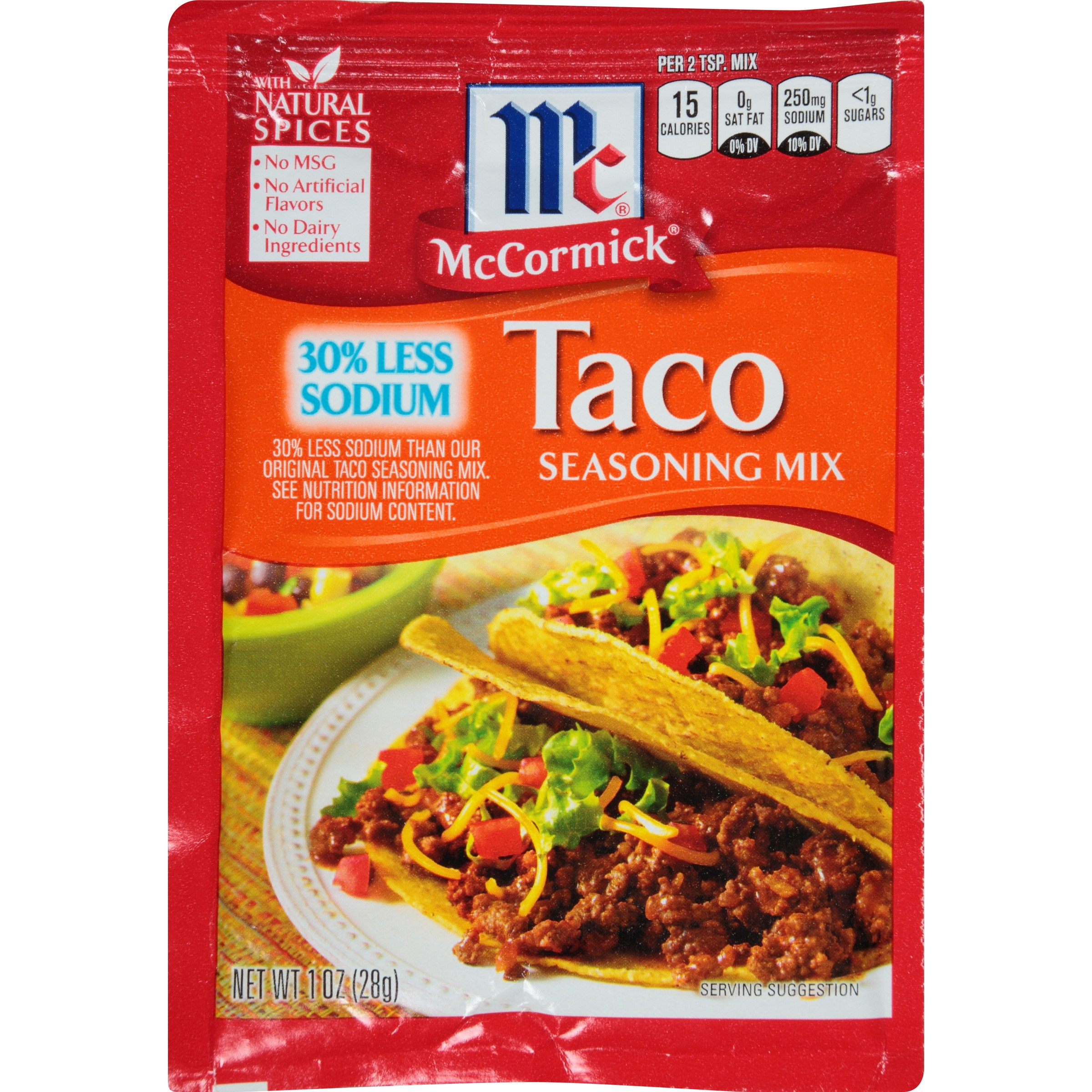 (4 Pack) McCormick 30% Less Sodium Taco Seasoning, 1 Oz