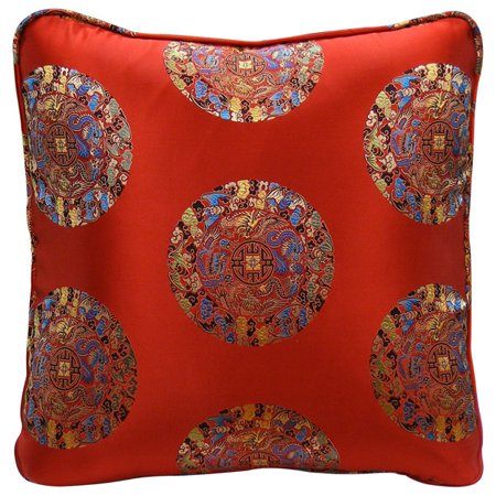 China Furniture and Arts Chinese Silk Pillow, Longevity Symbols on Red