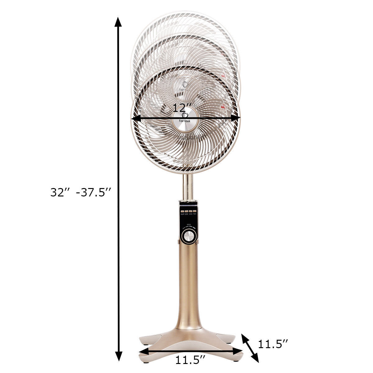 10'' Pedestal Fan 7 Blades 24-Speed 3 Mode Height Adjustable Remote Control - image 6 of 10