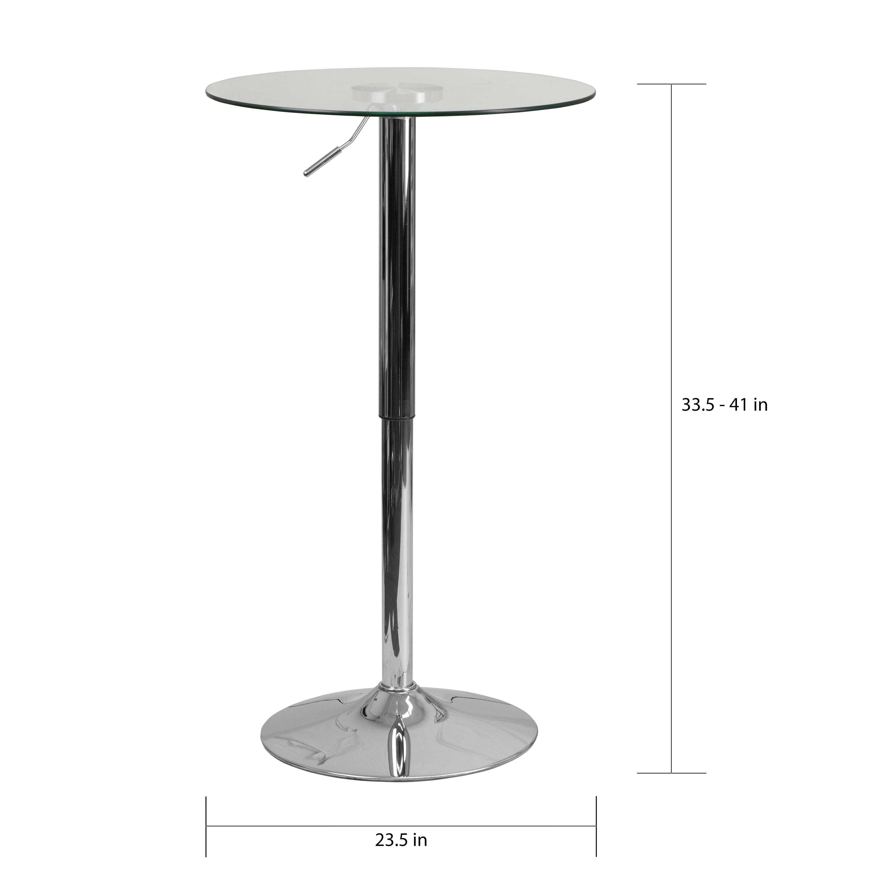 23 5 Round Adjustable Height Glass Table Restaurant Furniture