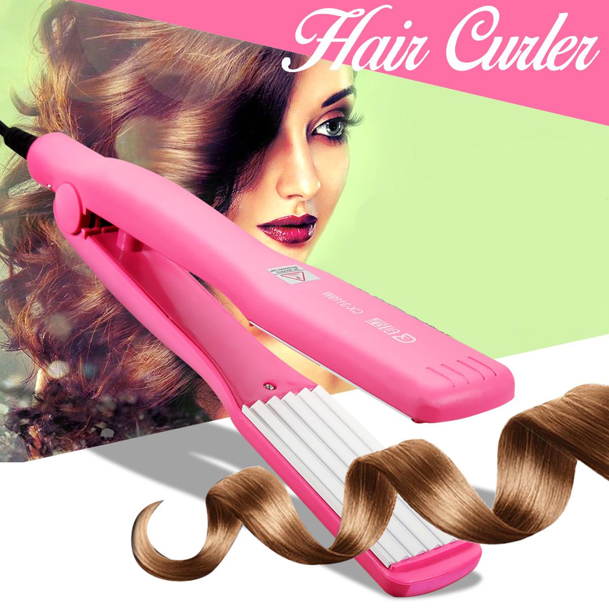 Professional Hair Straightener & Curling Crimper Curler Iron Anion Ceramic Wave Roller Wand Machine Salon